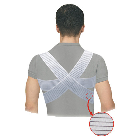 Elastic medical posture corrector with traversing panels, of increased comfort level