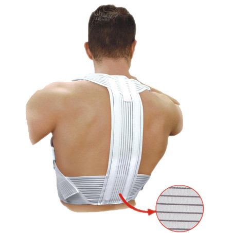 Elastic medical upper back posture corrector, with stiff inserts, with enhanced comfort