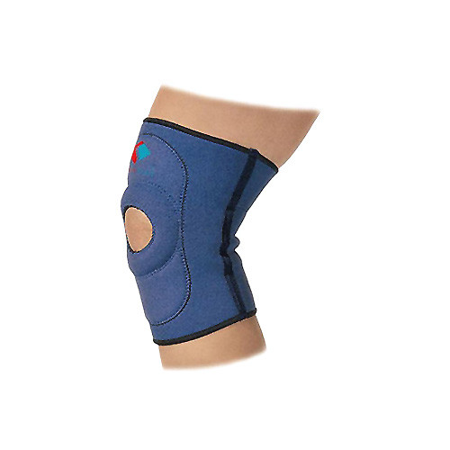 Elastic medical neoprene knee sleeve, with opening for kneecap
