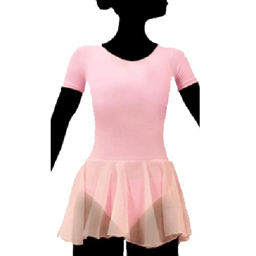 Short sleeve leotard has mesh skirt